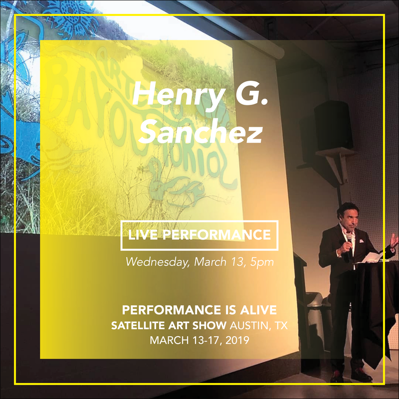 "Henry G. Sanchez - performs Wednesday, March 13 @ 5pm - Performance Is Alive at Satellite Art Show. Henry G. Sanchez presenting the ""BioArt Bayou-torium"", 2019"