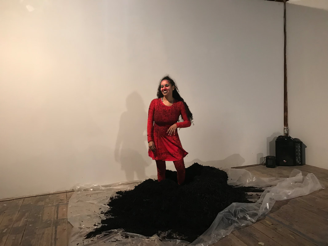 CHRISTIAN CRUZ, MOMENTS AFTER CONCLUDING PERFORMANCE. PERFORMANCE AT SATELLITE ART SHOW AUSTIN, PERFORMANCE IS ALIVE 2019